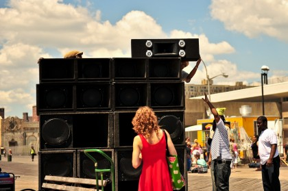 Setting up the sound system at Coney Island Reggae